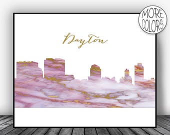 Dayton Skyline, Dayton Print, Dayton Ohio, Marble Art Print, Living Room Decor, Modern Art Print, Skyline Decor, ArtPrintsZoe