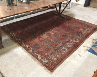 Authentic 19th Century Red Hand-Tied Rug