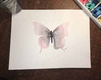 Fatima the Pink Butterfly - Original Watercolor