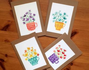 Set of 4 Tulip Flowers in Cups Cards, Original Artwork