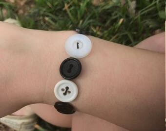 Black, White, and Grey Button Bracelet