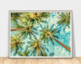 Palm Trees Wall Art - Tropical Decor, Palm Printable Art, Tropical Tree Print, California Trees, Palm Leaves, Palm Tree Decor, Large Poster