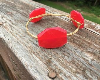 Red acrylic bead bracelet