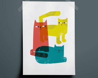 Cat Collage - Giclee Print