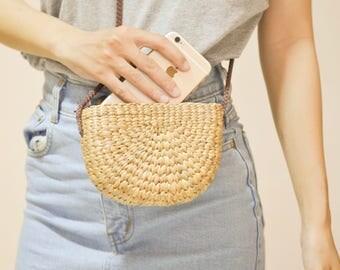 Thai Weaving seagrass (water hyacinth) cross body bag handmade brown strap Straw bag