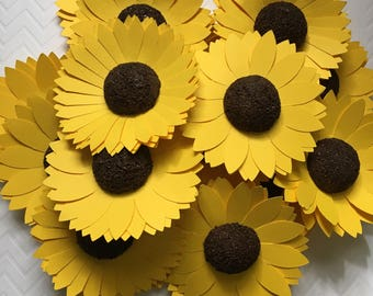 "12 - 4"" Paper Flower Sunflowers"