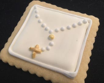 Mini gold rosary | Square Baptism cookie favors |  Custom decorated baby Christening cookies | Bautizo