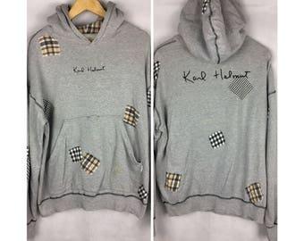 KARL HELMUT Vintage Hoodies Medium Size Hoodies Full Print Full Patches Nice Design