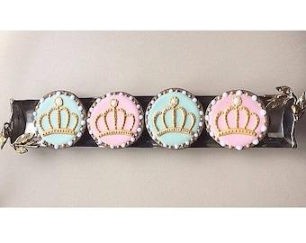 Gold Crown Tiara Princess Queen Cookies - Sugar Cookies with Royal Icing