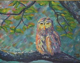 "12"" x 16"", Owl in the forest"
