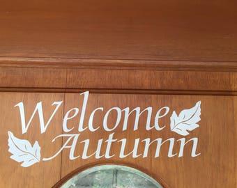 Welcome Autumn door decal