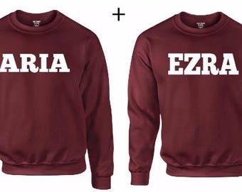 Aria & Ezra PLL Couple Sweater Burgundy  - series,tv,sweater,hoodie,pullover,t-shirt,tee,top,couple,Pärchen,best friends,gift,