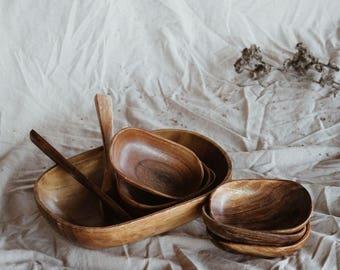 Vintage Wooden Bowl Set | Mid Century Modern
