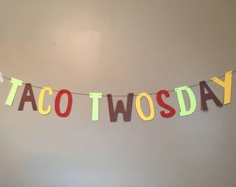 Taco Twosday Birthday Banner-Free Shipping-fiesta, taco tuesday, cinco de mayo