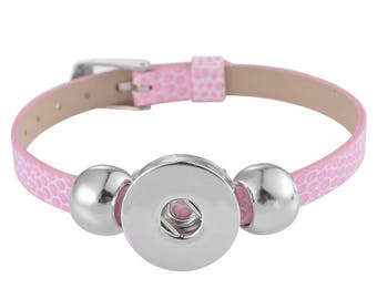 """Pink"" for snap button leather bracelet"