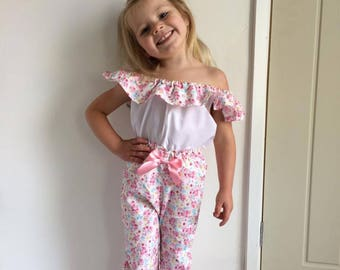 girls trousers, high waisted, girls off the shoulder top, girls ruffle top, floral fabric,