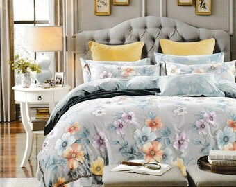 100% Cotton 6pcs duvet cover bed set Queen Size Custom Bedding (Set includes: duvet cover, flat sheet, 4 pillow cases), Premium Quality