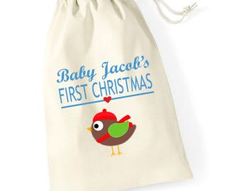 Personalised Robin Babys First Christmas Santa Sack Reindeer Xmas Present Stocking Drawstring Keepsake Tumblr Pintrest