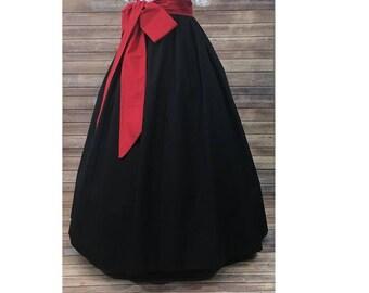 Skirt and Sash - Renaissance Civil War Victorian Southern Belle LARP Cosplay Dickensonian Pioneer - black red - dress costume