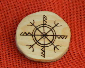 "Rune-bind amulet baby protection ""Cradle"" pyrography hand made Asatru Wicca Pagan Elder FUTHARK"