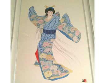Large Framed Hisashi Otsuka print- Lady Mieko of Summer II