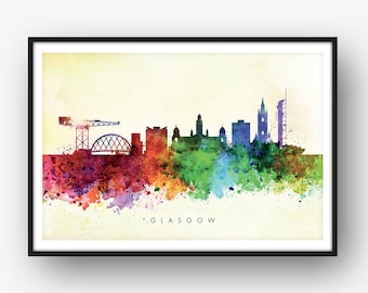 Glasgow Skyline, Cityscape Art Print, Wall Art, Watercolor, Watercolour Art Decor [SWGLA04]