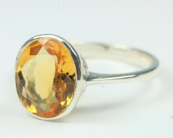 Elegant Sterling Silver Round Cut Citrine Ring  Size: Q 1/2 - 8 1/2
