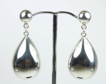 Minimalist Sterling Silver Teardrop Stud Drop Earrings