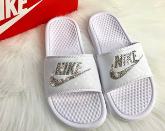 Swarovski Crystal Nike Slides Custom Bling Nike Slides In White Custom With Swarovski Crystals