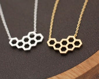 Beautiful Honeycomb necklace, Geometric necklace, Pentagon necklace, Beehive Necklace