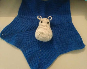 Cuddly baby Hippo gray blue crochet hook