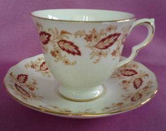 Rare Queen Anne Bone China Red Leaves Gold Rim Tea Cup & Saucer