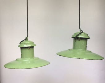 "Set Of 3 Circa 1950's Vintage Ex Soviet 13"" Enamel Factory Pendant Lights"