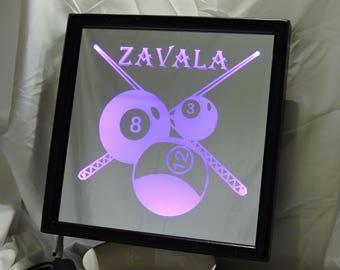 Billiards Custom LED Remote Controlled Mirror