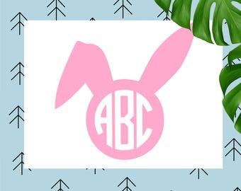 Bunny monogram svg Easter monogram svg Bunny svg Easter bunny svg ears svg happy easter svg file for Cricut Silhouette easter cut files dxf