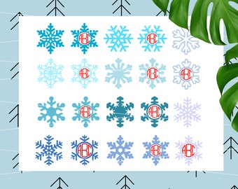 Snowflake Svg Snowflake Monogram Svg Winter Svg Christmas Svg Snowflake Frame Svg Cricut Silhouette cutting files lfvs