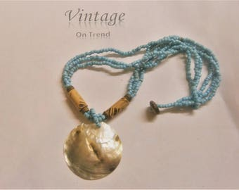 Vintage Shell & Bead Sun-Kissed Beach Necklace