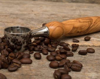 Coffee Lovers, Coffee Scoop, Hand Turned,  Birthday Gift, Wood Turned, Measuring Spoon, Java, Tea Lovers, Olive Wood, Holy Land