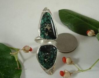 Variquoise Ring Sterling Silver Large Adjustable Size 8 to 11 Utah Gem Variscite Turquoise Statement Ring Natural Blue Green Black OOAK 044G
