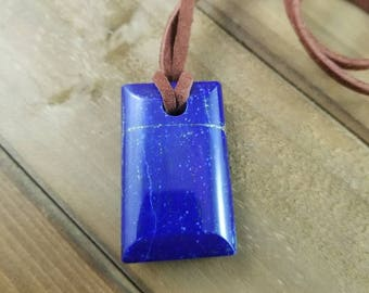 Polished Lapis Lazuli Pendant with Natural Leather Cord