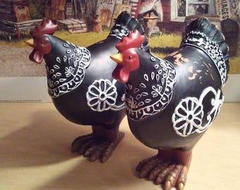 2 Vintage Ornamental Chickens