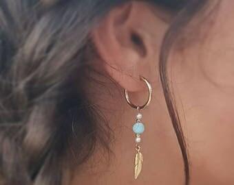 Blue Feather earrings