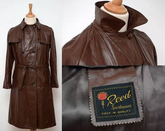 80s Leather Reed Trench Coat womens size XXL Double Breasted Brown Military