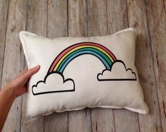 RAINBOW fabric panel, rainbow cushion fabric, throw pillow fabric panel, colorful rainbow panel, DIY pillow panel, fabric Rainbow and cloud