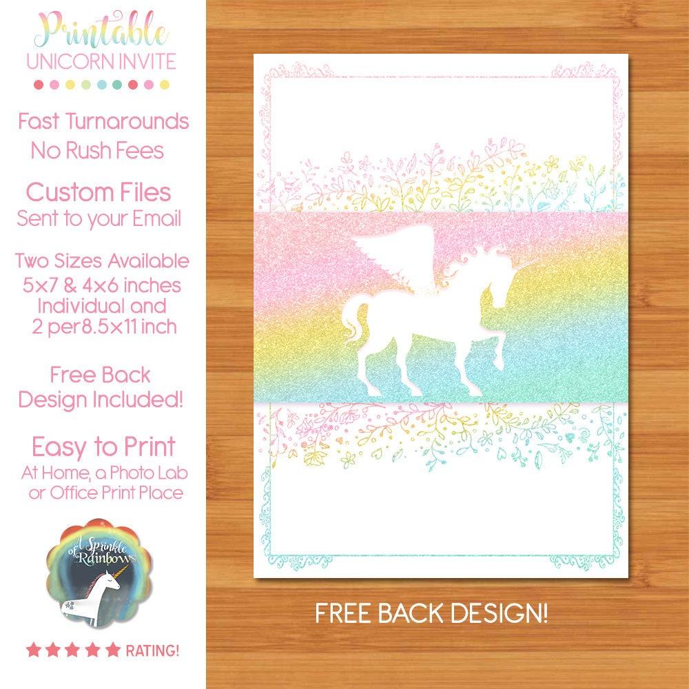 Unicorn Birthday Party Invitation | Unicorn Birthday Invitation ...