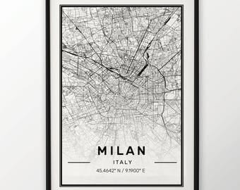 Milan City Map Print, Modern Contemporary poster in sizes 50x70 fit for Ikea frame 19.5 x 27.5 All city available London, New York Paris