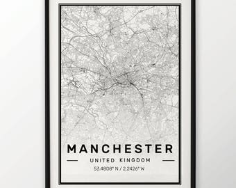 Manchester City Map Print Modern Contemporary poster in sizes 50x70 fit for Ikea frame 19.5 x 27.5 All city available London, New York Paris