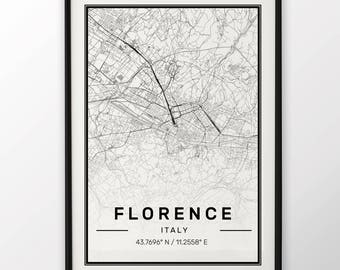 Florence City Map Print Modern Contemporary poster in sizes 50x70 fit for Ikea frame 19.5 x 27.5 All city available London, New York Paris