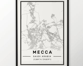 Mecca City Map Print Modern Contemporary poster in sizes 50x70 fit for Ikea frame 19.5 x 27.5 All city available London New York Paris