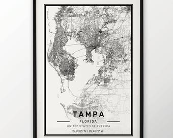 Tampa City Map Print Modern Contemporary poster in sizes 50x70 fit for Ikea frame 19.5 x 27.5 All city available London New York Paris